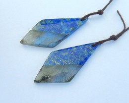 New Design,Natural Blue Labradorite and Lapis Lazuli Intarsia Earrings For