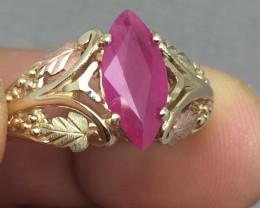 (B4) Splendid $3200 Nat 2.85ct Antique Marquise Ruby Ring