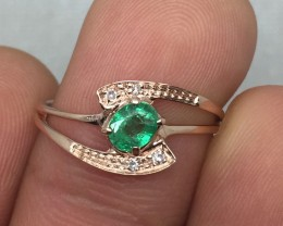 (B4) Stunning $1300 Nat 0.43ct Colombian Emerald & Diamond Ring
