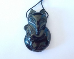Fox Pendant,15.5ct Natural Obsidian Carved Fox Necklace Pendant(18011508)