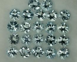 5.22 Cts Natural Aquamarine 4 mm Round 22 Pcs Parcel