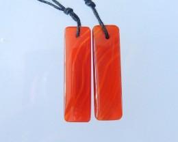 17ct Natural Red Agate Rectangular Earrings,Semitransparent Agate Red Color