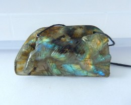 Wolf Carving,120.5ct Natural Flashy Labradorite Handcarved Howling Wolf Nec