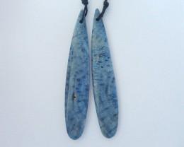22.5ct Natural Blue Coral Teardrop Long Earrings For Women,Beautiful Cheap