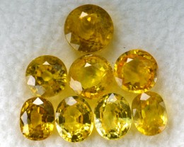 6.54 Cts Natural Sapphire Canary Yellow Oval & Round 8 Pcs Parcel