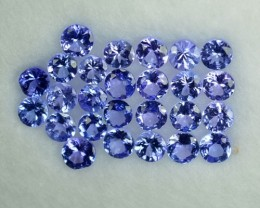 1.98 Cts Natural Tanzanite Purple Blue 25 Pcs Round Tanzania