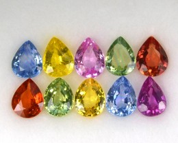 3.68 Cts Natural Fancy Sapphire (5x4mm) Pear 10Pcs Sri Lanka