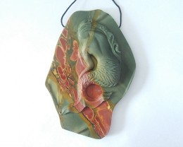 Beautiful Mermaid Pendant,Natural Muti Color Picasso Jasper Carved Mermaid