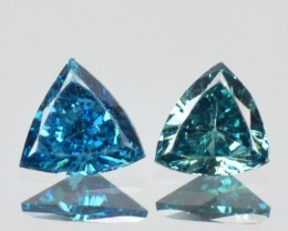 0.35 Cts Natural Blue Diamond 2 Pcs Trillion Africa