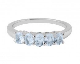Aquamarine 925 Sterling silver ring #470