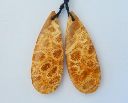 Hot Fashion,Sell 34.5ct Natural Indonesian Coral Pear Shape Earrings,High Q