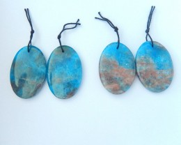 Wholesale,Sell 2 pairs Natural Blue Apatite Crystal Oval Earrings, Lovely B