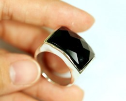 Lot 11 ~ 57.55Ct Natural Black Onyx 925 Sterling Silver Ring Sz10
