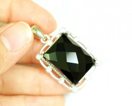 Lot 12 ~ 53.60Ct Natural Black Onyx 925 Sterling Silver Pendant