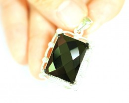 Lot 14 ~ 52.00Ct Natural Black Onyx 925 Sterling Silver Pendant