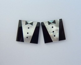 New Arrival,Intarsia Cabochon Pair,Natural Obsidian and Pearl Intarsia Cabo