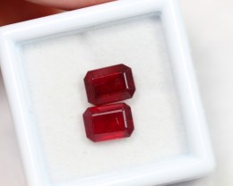 NR Lot 15 ~ 4.36Ct 8x5mm Natural VS Clarity Blood Red Color Ruby