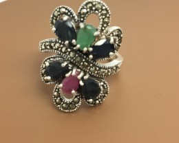 32.0 Crt 925 Sterling Silver Ring with Ruby emerald Gemstone
