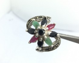 37 Crt 925 Sterling Silver Ring with Natural Gemstones Ruby emreald