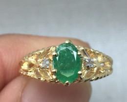 (B5) Stunning Cert. $1150 Nat 1.04cts Emerald & Diamond Ring