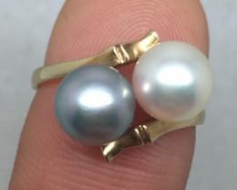 (B5) Dazzling $1300 Nat 4.7g Silver/Grey Cultured Pearl Ring