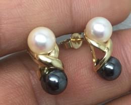 (B5) Striking $850 Nat 3g Double Cultured B/W Pearl Earrings