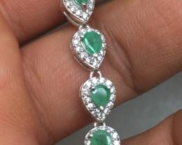 (B5) Splendid 35.5tcw. Brazilian Emerald &CZ  Bracelet
