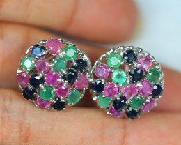 43ct Sterling Silver 925 Natural Emerald Ruby Sapphire Earring GW500
