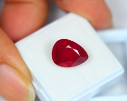 7.11Ct Natural Blood Red Ruby Pear Cut Lot LZ214