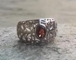 Garnet filigree 925 Sterling silver ring #046