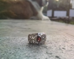 Garnet filigree 925 Sterling silver ring #046