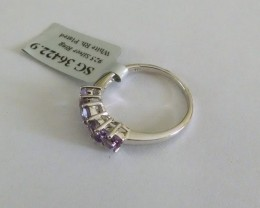 Amethyst trillion 925 Sterling silver ring