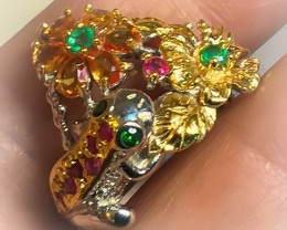 A Frog Chrome Diopside Emerald Ruby Sapphire Gold Sterling Silver ring size