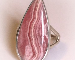 Beautiful Rhodochrosite Strawberry and Cream Sterling Silver .925 Ring Size