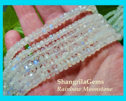 14inch line 6mm to 7mm White Rainbow Moonstone faceted beads roundelles