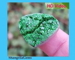 25mm UVAROVITE heart Garnet druzy cabochon