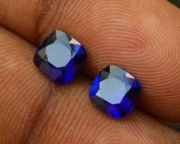 2.25 CTS GENUINE NATURAL ULTRA RARE LUSTER ROYAL BLUE KYANITE 2 PCS