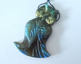 Spirital Animal Owl Carving,Natural Flashy Labradorite Carved Owl Necklace