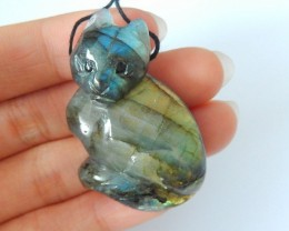 Lovely Cat Pendant,Natural Flashy Labradorite Handcarved Animal Cat Pendant