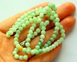 73.5Ct Genuine Burmese Type-A Jadeite Jade 81-Beads Necklace