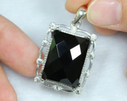 NR Lot 01 ~ 52.23Ct Natural Black Onyx 925 Sterling Silver Pendant