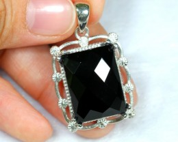 NR Lot 11 ~ 56.07Ct Natural Black Onyx 925 Sterling Silver Pendant