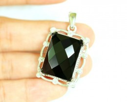 NR Lot 13 ~ 53.97Ct Natural Black Onyx 925 Sterling Silver Pendant