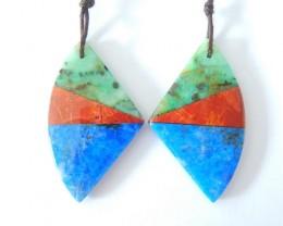 New Design,Special Design Intarsia Earrings,Natural Chrysocolla,Muti Color