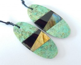 42.5CT Natural Chrysocolla,Obsidian and Labradorite Intarsia Oval Earrings,