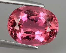 4.40 CTS TOURMALINE CRANBERRY PINK FACETED OVAL TOP GRADE GEM