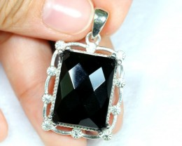 Lot 17 ~ 53.26Ct Natural Black Onyx 925 Sterling Silver Pendant