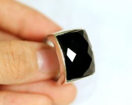 Lot 10 ~ 56.93Ct Natural Black Onyx 925 Sterling Silver Ring Sz10.25