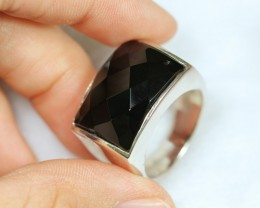 Lot 13 ~ 57.66Ct Natural Black Onyx 925 Sterling Silver Ring Sz8.75