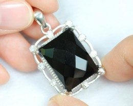 Lot 14 ~ 54.28Ct Natural Black Onyx 925 Sterling Silver Pendant